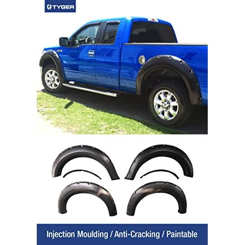 Premium Fender Flares for 2009-2014 Ford F-150 Styleside Models Smooth Matte Black Paintable Pocket Bolt-Riveted Style 4pc