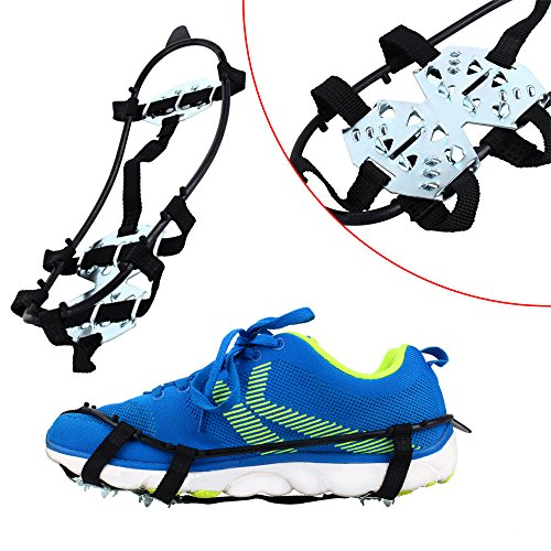 Od-sports 1 Pair 18 Teeth Unisex Multi-function Anti-slip Ice Cleat Shoe Boots Traction Crampon Chain Spike Non-slip for Climbing Walking Travel by Od-sports (Image #4)