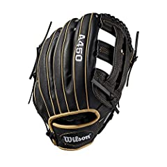 "The A450 line of Wilson gloves are designed to look like Pro stock WTA04RB1912 gloves worn by some of the top players in Major League Baseball. This black and blonde 12"" dual post web WTA04RB1912 is perfect for young players looking to develo..."