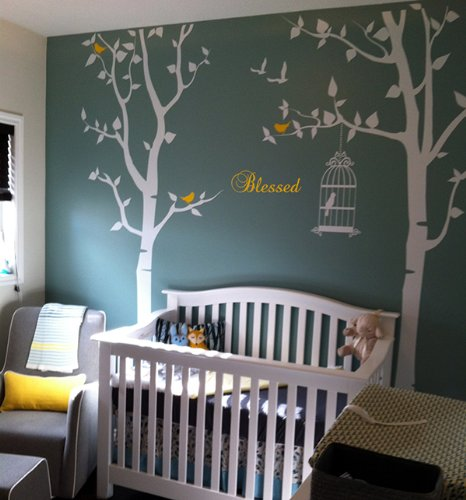 Pop Decors Removable Vinyl Art Wall Decals Mural for Nursery Room, Nursery Trees with Bless