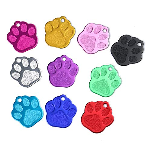 Monrocco 10 Pcs Assorted Color Paw Shaped Tag Blank Aluminum Pet ID Tag for Dog&Cats