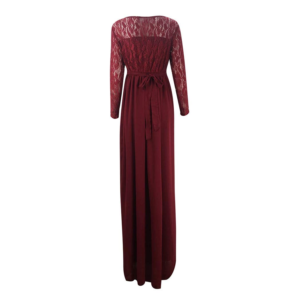 Dress for Maternity Womens Pregnants Long Sleeves Lace Photography Long Maxi Dress