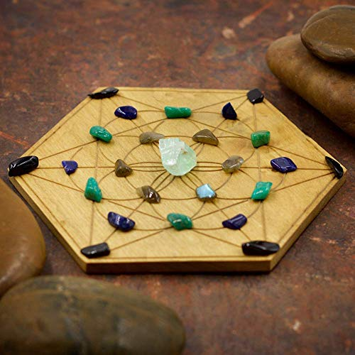 (Panic and Anxiety Relief Mini Crystal Grid Set with Green Calcite, Labradorite, Amazonite, Sodalite, and Black Onyx)