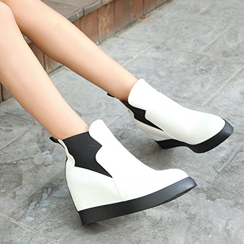 HiTime Ladies Classic Slip On Casual Bootie High Wedges Trainers Elastic Sneaker Boots Size 2-8 White BGMKKXU34p