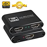 HDMI Splitter 1 Input 2 Output, NewBEP Metal 1 x 2 HDMI Amplifier Switcher Box Hub Support 4K X 2K 3D 2160p 1080p (One Input To Two Outputs)