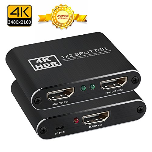 HDMI Splitter 1 Input 2 Output, NewBEP Metal 1 x 2 HDMI Amplifier Switcher Box Hub Support 4K X 2K 3D 2160p 1080p (One Input To Two (Amplifier Switcher)