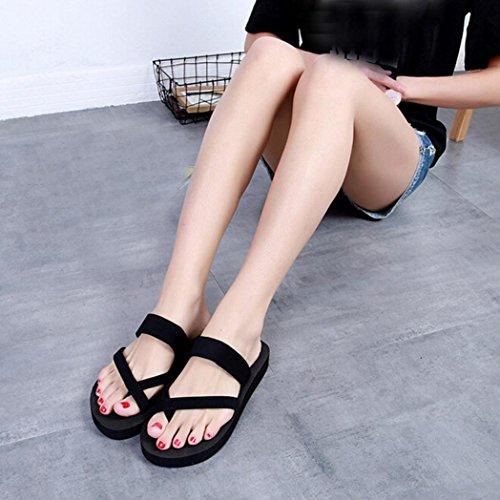 Open Shoes Slippers Flat Flops Flip Toe Casual Summer erthome Outdoor Beach Sandals Black Womens qP6zHH