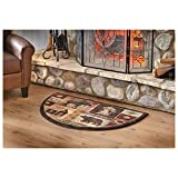 NA Wildlife Bear Moose Hearth Rug Fire Resistant, Flame Retardant, Hunting Themed Half Moon Mat, Use at Cabin, Protects Floor Around Fireplace For Sale