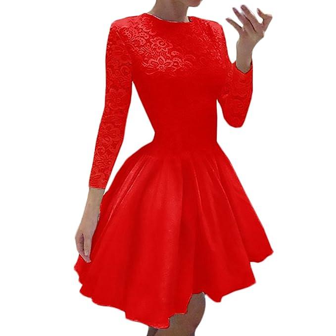 Mujer Vestidos De Fiesta Cortos Verano Elegantes Splice Encaje Vintage Una Línea Con Volantes Skater Vestido