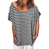 2019 Women's Summer Casual Printed Striped Tops O-Neck Short Sleeve Loose Top Blouses Daily T Shirts (Black, M)