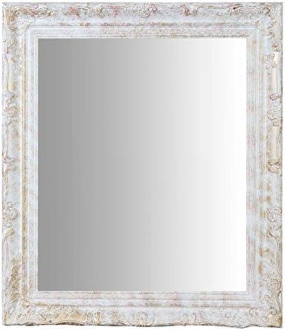 Shabby Chic L43xPR3,5xH61 cm da Appendere al Muro Orizzontale Verticale Cornice Finitura Colore Bianco Anticato Specchiera Ovale da Parete Bagno Stile Shabby Chic. Specchio Trucco