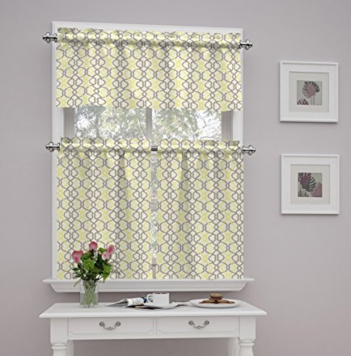 Traditions by Waverly 14970052036SLG Make Waves 52-Inch by 36-Inch Tier and Valance Set, Sterling (Yellow Tier Curtains)