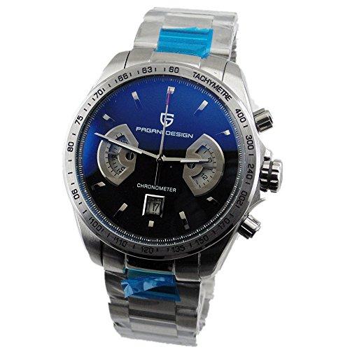 PAGANI Design 44mm chronometer date mens quartz watch stainless steel Case 2075