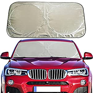 Flyday Auto Car Sun Shade Foldable Windshield - Blocks UV Rays Sun Visor Protector, Sunshade To Keep Your Vehicle Cool, Fits Trucks SUVs Vans(Standard 63 x 33 inches)
