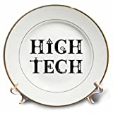 3dRose Alexis Design - Mechanical Engineering - High Tech elegant decorative text on white background - 8 inch Porcelain Plate (cp_286079_1)