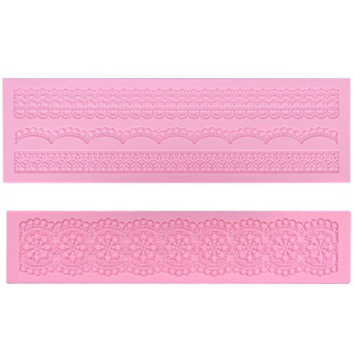 Prokitchen Large Flower Lace Fondant Molds Silicone Lace Embosser Mold Fondant Impression Mats for Cake Decorating Set of 2 (Pink) ()