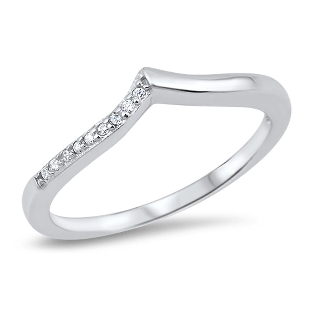Chevron White CZ Pointed Thumb Ring Sterling Silver Stackable Band Size 10