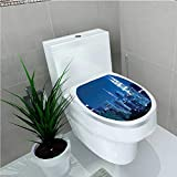 Toilet Sticker Lumpur Skyline at Night KLCC Twin Towers Malaysian Landmark Monochromic Photo Navy Black W13 x L16