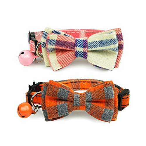 - Pohshido Pack of 2 Cat Collar with Movable Bowtie, Cat Bowtie Plaid Patterns, Breakaway Buckle Safety Kitty Collar with Tiny Bell, Adjustable Pet Collar for Cats and Puppies(Pink Cream & Orange Tango)
