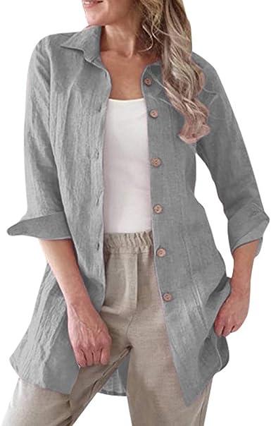 Camisas Mujer Rebeca Chaqueta Mujer Lino de algodón Casual Camisa ...