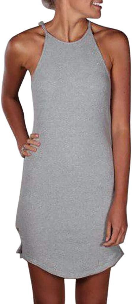 Women Sleeveless Halter Bodycon Mini Dress Spaghetti Strap Pencil Dresses Summer Sling Sundress