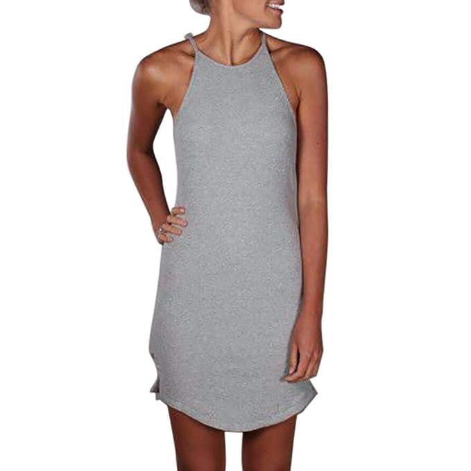 finest selection fb47e 58933 KIMODO Damen Kleider Einfarbig Neckholder Kleid Lässig ...