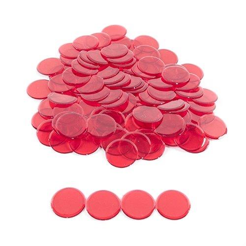 Plastic Non-Magnetic Bingo Chips - Red - 100 Bingo Chips - 7/8 Inch Size