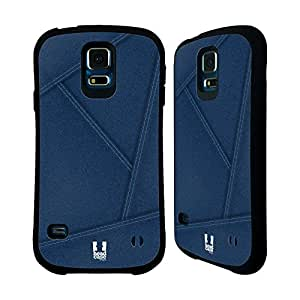 Head Case Designs Blue Patched Up Collection Denim Hybrid Gel Back Case for Samsung Galaxy S5