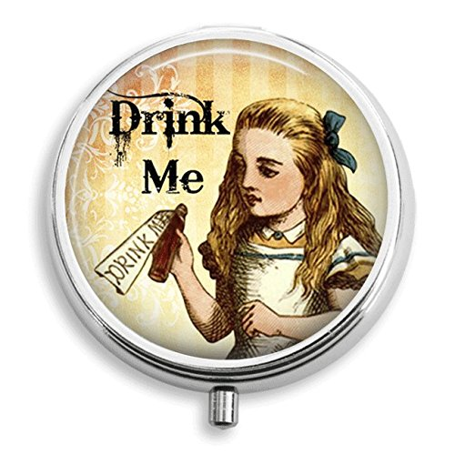 Alice in Wonderland With Poison Bottle Saying Drink Me Pill Holder Pill Case Medicine Holder Mint Tin Vitamin Holder Small Craft Container Handmade Gifts For Her