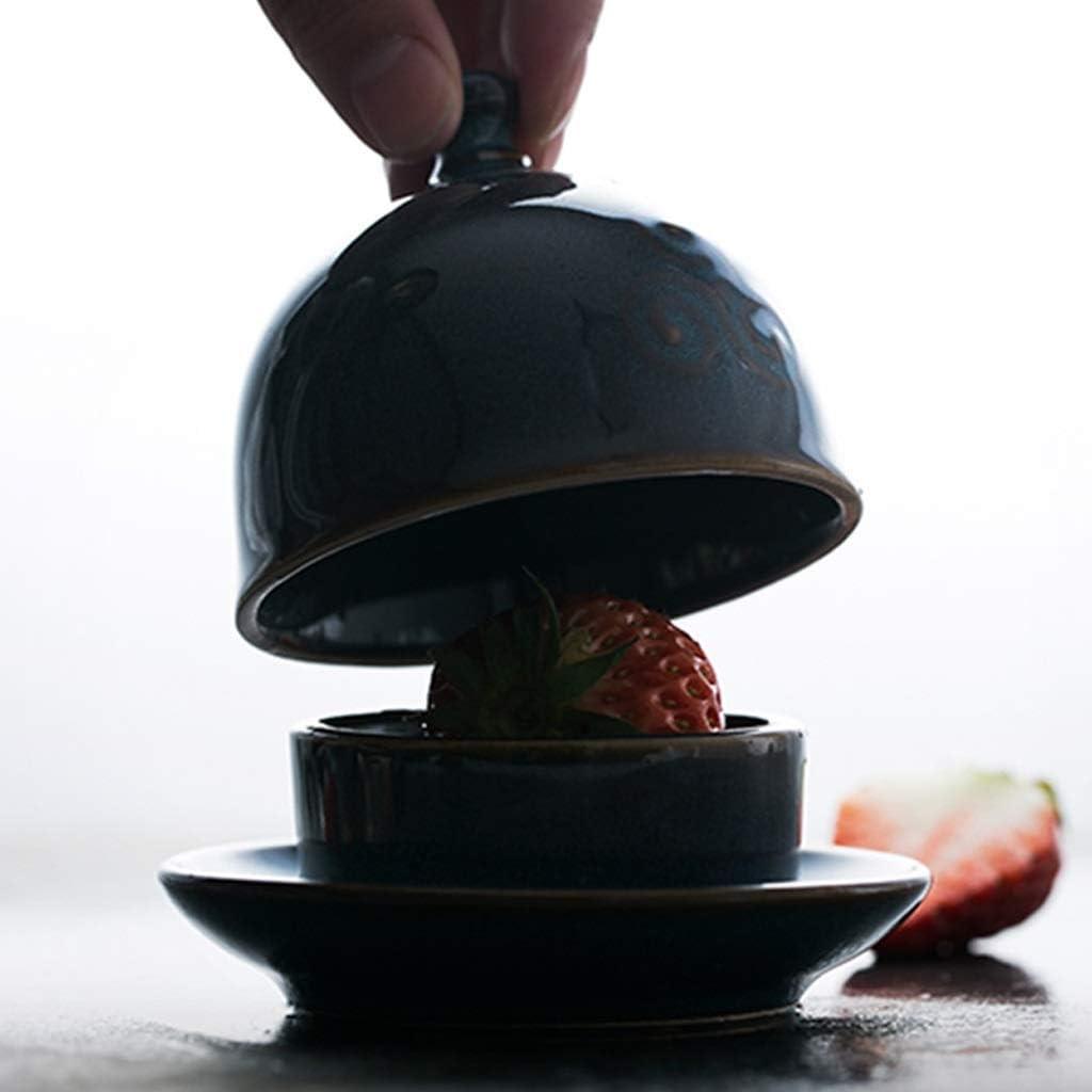 Mantequillera Creativo Peque/ño plato de salsa con tapa Mini sola porci/ón de mantequilla sostenedor del plato del plato de cer/ámica del condimento Butter Snack plato de la salmuera del plato del plato