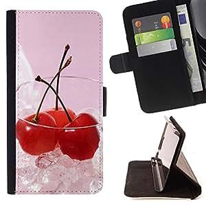 - Fruit Macro Ice Cherry - - Monedero PU titular de la tarjeta de cr????dito de cuero cubierta de la caja de la bolsa FOR Samsung Galaxy A3 RetroCandy