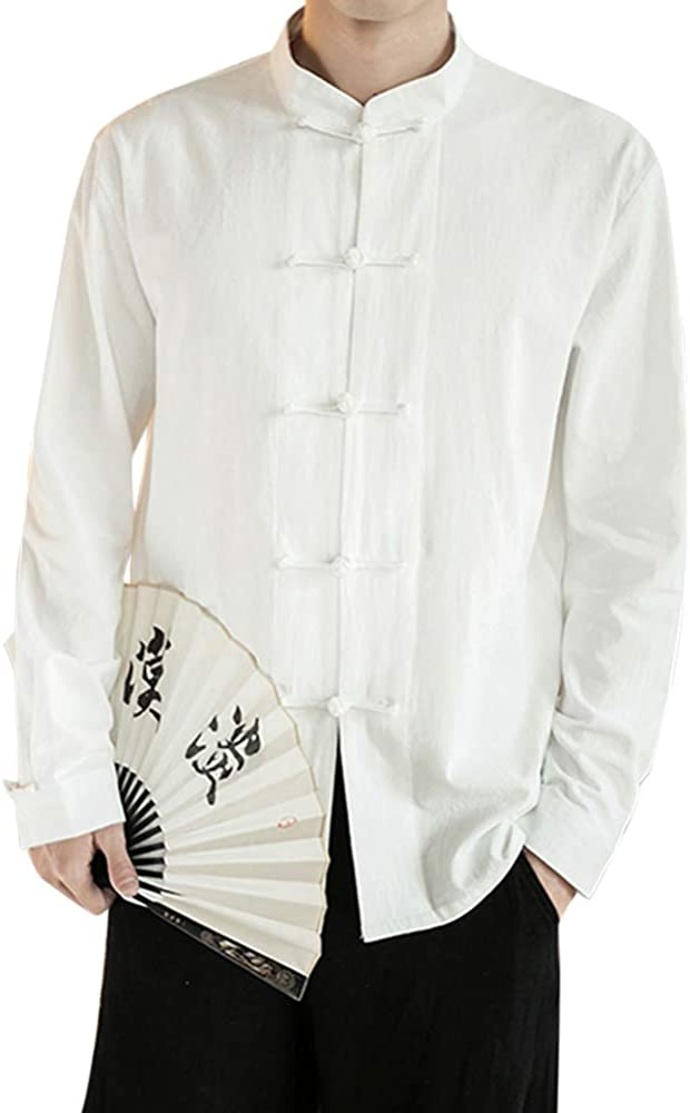 Hombre Camisa de Lino, sin Cuello, Estilo Chino, Blusas Blanco M: Amazon.es: Ropa y accesorios