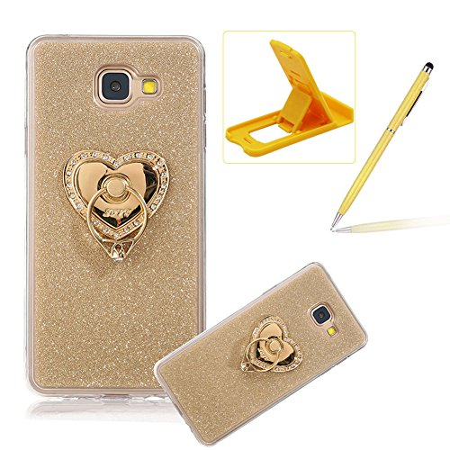 Cover for Samsung Galaxy J7 Prime,Rubber Case for Samsung Galaxy J7 Prime,Herzzer Super Slim [Gold Gradient Color Changing] Dust Resistant Soft TPU Bling Glitter Protective Case with 360 Degree Ring Grip Holder Stand