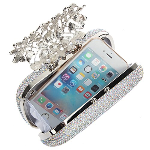 Bags Purses Evening Silver With Ab Crystal Bonjanvye Flower Rhinestones Clutch wpnaOxOq7S