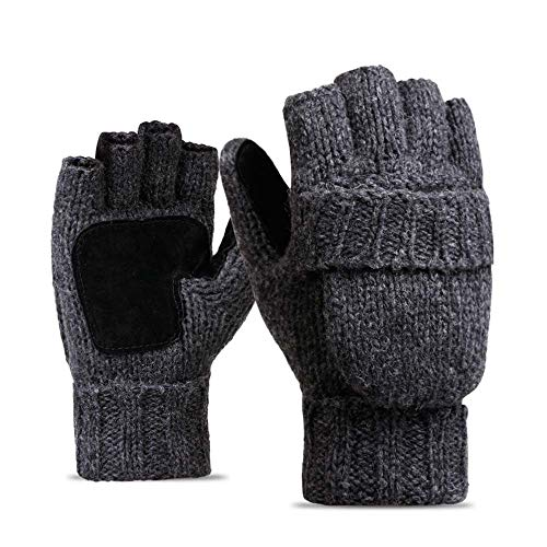 New!DEESEE(TM)Men Women Warm Winter Gloves Wool Knitting Half-Finger Outdoor Cycling Gloves (C)