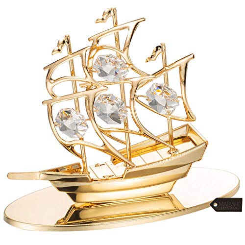 Matashi Highly Polished Mayflower Ship Ornament Figurine (Clear with Base, Gold)
