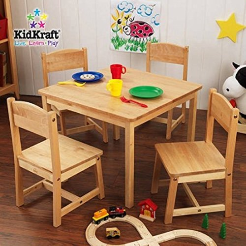 KidKraft Farmhouse Childrens Table and 4 Chairs Set, Multiple Colors (Natural)