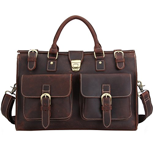 Berchirly Large Leather Laptop Briefcase Messenger Shoulder Bag Red Brown by Berchirly