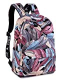 School Bookbags for Girls, Fashion Feather Print Laptop Backpack College Bags Women Daypack Travel Bag by TOPERIN (Purple-Blue)