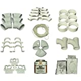 Central Vacuum Cleaner 3 Inlet Instillation Kit Assembly, contains, 9 Sweep 90 degree Ells, 2 Sweep 90 degree Tees, 3 short 90 degree Ells, 6 - 45 degree Ells, 6 couplings, 6 pipe straps, 3 inlet valves, 3 mounting plates, 80 feet 18/2 low voltage wire,