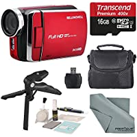 Bell & Howell Red DV30HD 1080p HD Video Camera Camcorder + Basic Accessory Bundle + Professional Cleaning Kit