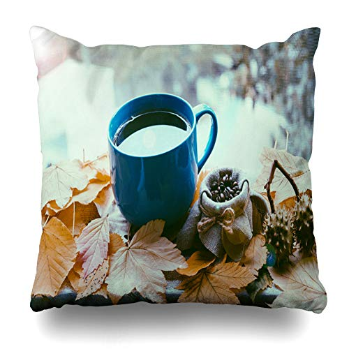 Suesoso Decorative Pillows Case 18 X 18 Inch Autumn Leaves Hot Cup Tea Coffee NatureThrow Pillowcover Cushion Decorative Home Decor Nice Gift Garden Sofa Bed Car -