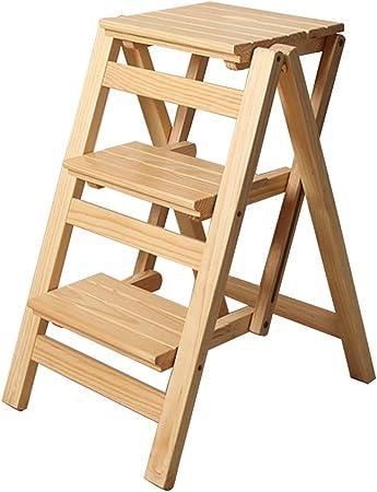 Escalera Plegable de 3 escalones, Escalera para Uso doméstico, Silla de Comedor Taburete de Bar Escaleras de Tijera para niños y Adultos, Herramienta de jardín para el hogar Máx. 150kg en Natural: