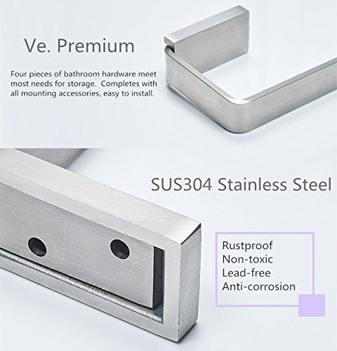 Velimax 4pc Bathroom Accessories Brushed Nickel Bathroom Hardware Set  Stainless Steel Wall Mounted - Towel Hook 227a102a2