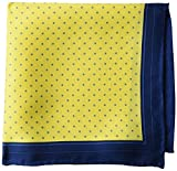 Buttoned Down Men's Classic Silk Hand Rolled Pocket Square, yellow dot, One Size