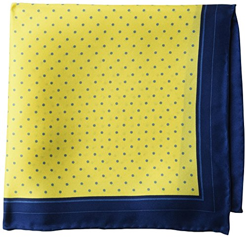 (BUTTONED DOWN Men's Classic Silk Hand Rolled Pocket Square, yellow dot, One Size)