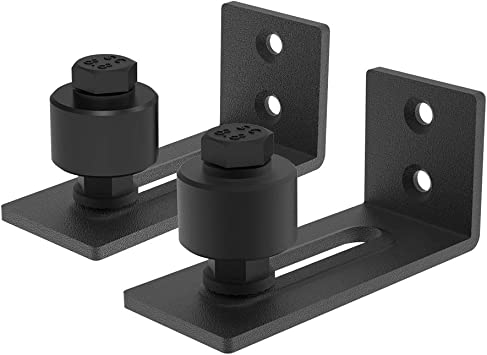 FREDBECK Barn Door Floor Guide,Sliding Wall Mount Powder Coated Adjustable Delicate Barn Door Bottom Guide Easy to Install,Flush to Floor Super Smoothly and Quietly Black