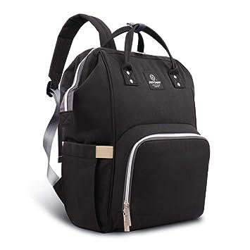 086674db6a Amazon.com   Pipi bear Diaper Bag Backpack Travel Large Spacious Tote  Shoulder Bag Organizer (Black)   Baby