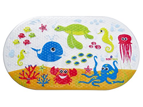 Salinka Ocean Anti Slip Baby Bath Mat - Phatalates and Lead FREE - Non Slip Mat for Bathtub and Shower - Durable Mildew Mold Resistant PVC - Many Strong Suction Cups