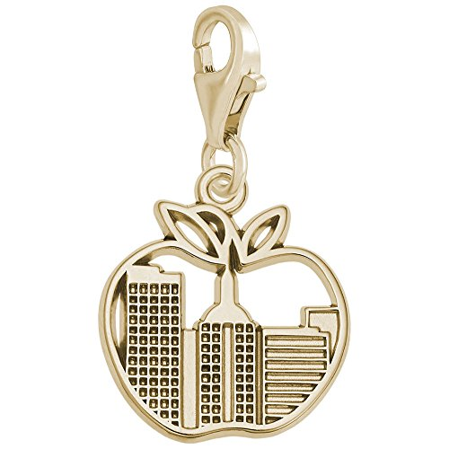 Gold Plated New York Skyline Charm With Lobster Claw Clasp, Charms for Bracelets and Necklaces